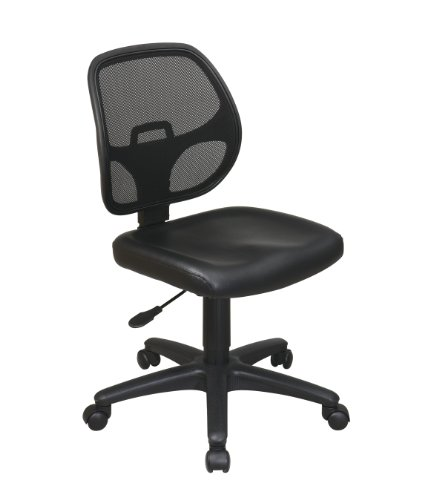 Task Chair Screen Back (Office Star Mesh Screen Back Armless Task Chair with Padded Vinly Seat, Black)