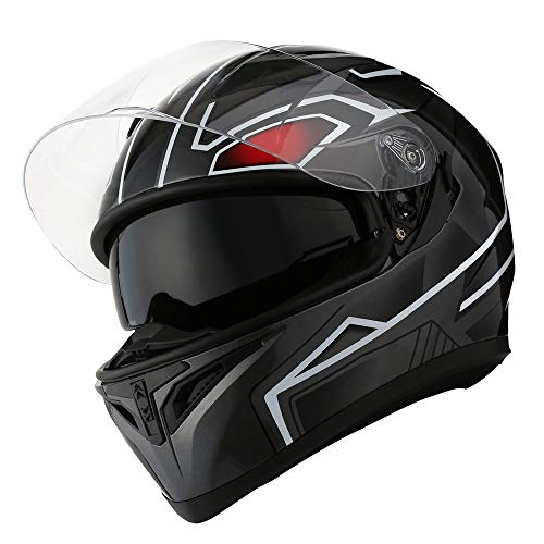1STorm Motorcycle Street Bike Dual Visor/Sun Visor Full Face Helmet Panther Black, Size Large (57-58 CM,22.4/22.8 Inch)