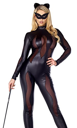 Mesh Catsuit - Forplay Women's Luscious Lynx Catsuit with Mesh Insets and Headband, Black, Small/Medium