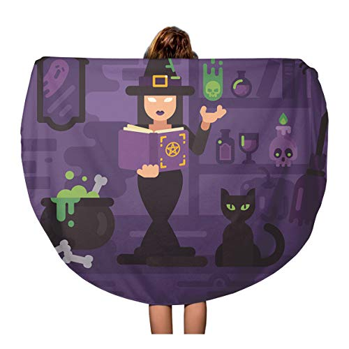 Semtomn 60 Inches Round Beach Towel Blanket Witch in Her House Studying Magic Young Sorceress Casting Travel Circle Circular Towels Mat Tapestry Beach Throw ()