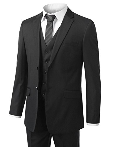 URBANSUIT Men 3Pcs Modern Fit Suit Jacket Blazer Tux Trouser Vest CHAR 34S 28W
