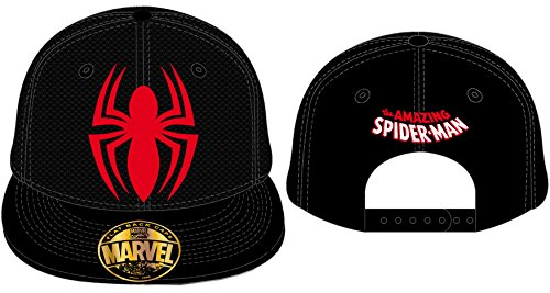 Marvel Spiderman Spider and Logo Snapback Cap (Black/Red) -