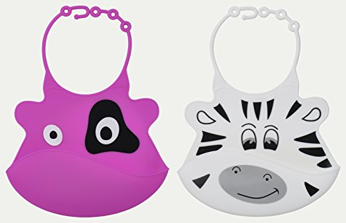 Baby Bib Set with Food Pocket From Jamika Products - Cute Baby Bibs Unisex Feeding Set - Waterproof Washable Scentless Silicone Plastic - Perfect for Infants & Babies
