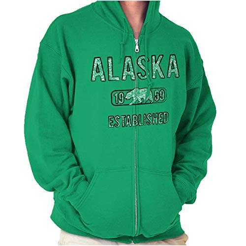Alaska Polar Bear Vintage Gym Workout AK Zip Hoodie Irish Green