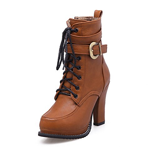 with Zipper High Toe Heels Metal Solid Round Boots Closed Brown Women's PU Allhqfashion v8wOgg