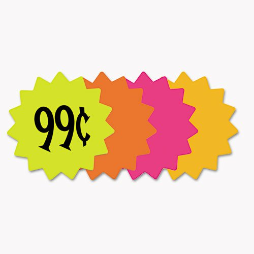 Cosco Die Cut Paper Signs, 4 inch Round, Assorted Colors, Pack of 60 ()