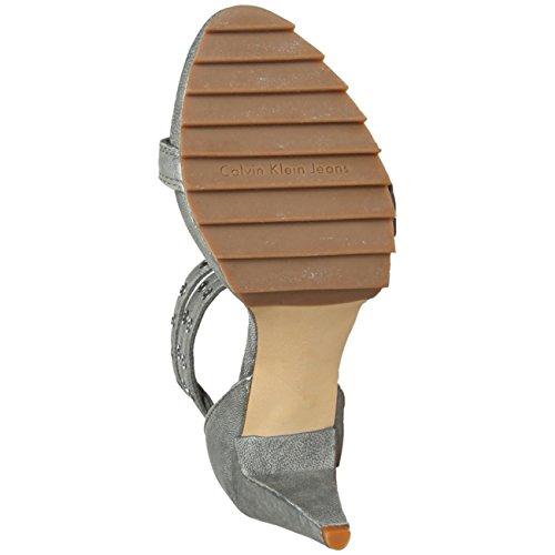 CALVIN KLEIN N_R3160DGN Damen Sandaletten, Sandalen Damenschuhe, EU37, grau