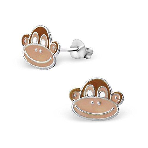 Laimons - Boucles d'oreille pour enfant - argent sterling 925 - singe