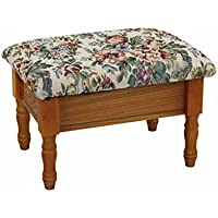 Frenchi Home Furnishing Queen Anne Style Footstool with Storage in Oak Finish