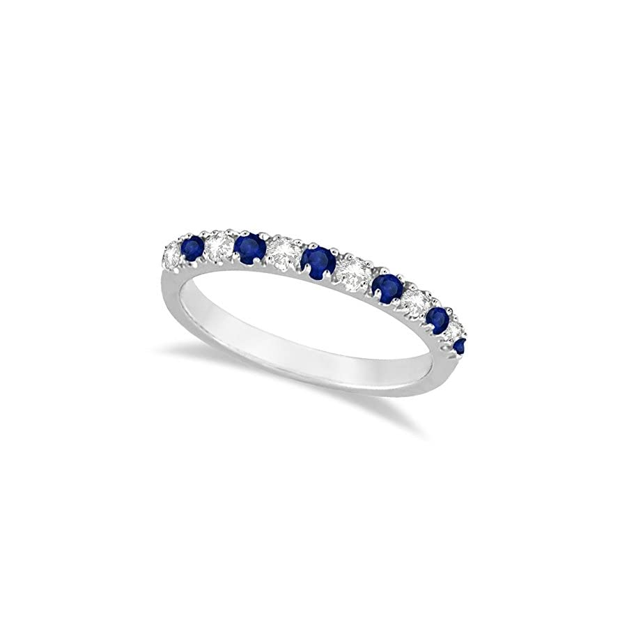 14k Gold Diamond and Blue Sapphire Stackable Ring Anniversary Band For Women (0.32ct)