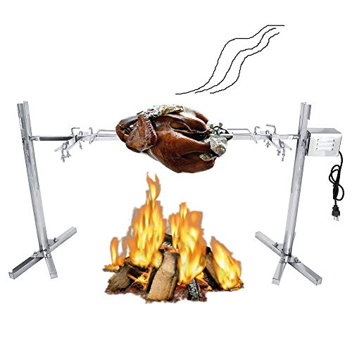 Fishlor Grill Rotisserie, Grill Rotisserie Kit for Barbecue Stainless Steel Electric Motor Camping Grill Spit Rod Meat Forks with US Plug