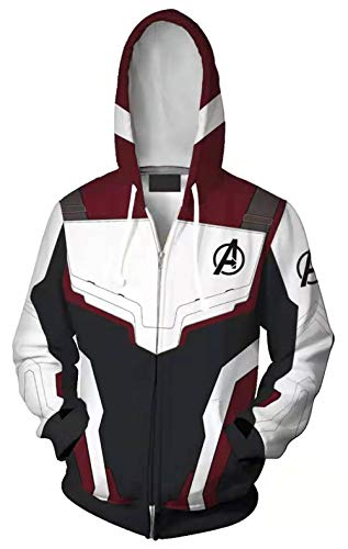 Riekinc Superhero Pullover Hoodie Tech Jacket Sweatshirts, White, Size Large