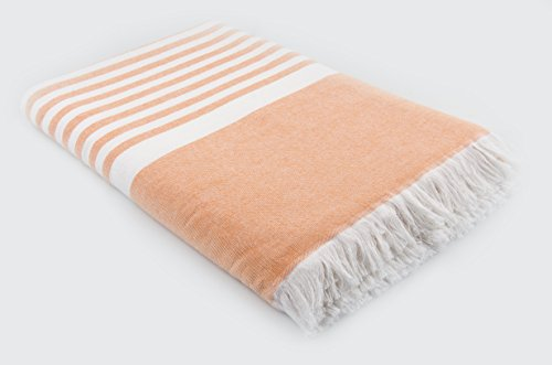 """LUNASIDUS LS-BB8090-ORW Zeugma 100-percent Luxury Turkish Combed Cotton Oversize Sand Free Peshtemal Beach Blanket, 80"""", Orange, 80"""" x 80"""" - Made in Turkey - Highly absorbent and long-lasting durable Beach Blanket 100% Luxury Turkish Cotton beach blanket with multiple color options Flat woven front with terry loop back, 80 in. By 80 in. Oversize-jumbo beach blanket - blankets-throws, bedroom-sheets-comforters, bedroom - 41SLS96M3NL -"""