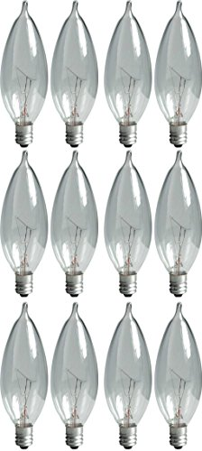 GE Lighting Crystal Clear 24782 40-Watt, 370/280-Lumen Bent Tip Light Bulb with Candelabra Base, 12-Pack (Electronic Lightbulb compare prices)