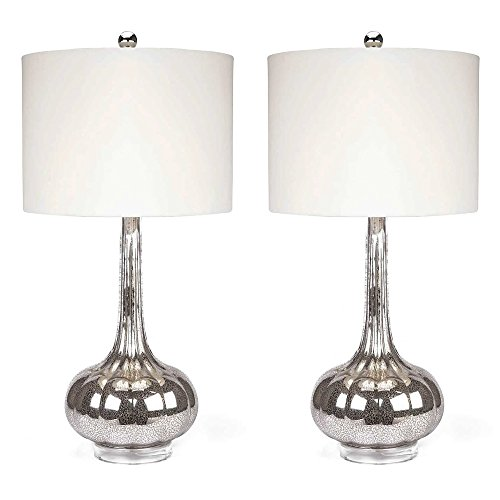 Modern Antique Silver Mercury Glass Table Lamp Set of 2 with Ivory Drum Shades - Includes Modhaus Living Pen