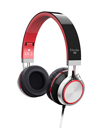 Elecder i39 Headphones with Microphone Kids Children Girls Boys Teens Adults Foldable Adjustable Wired On Ear Headsets Compatible iPad Cellphones Computer MP3/4 Red/Black