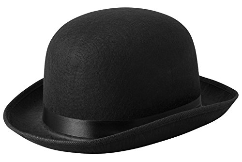 Black Derby Hat Bowler Costume Dress Up Felt Hat , 5