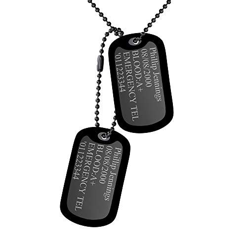 Custom4U Black Men Ball Necklace Luggage Tags Dog Pendant Silencer Silicone Covers Military Tags