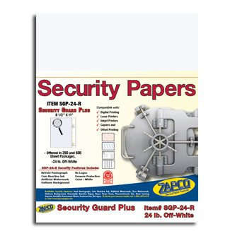 SGP-24-R Off-White Security Paper, 500 shts