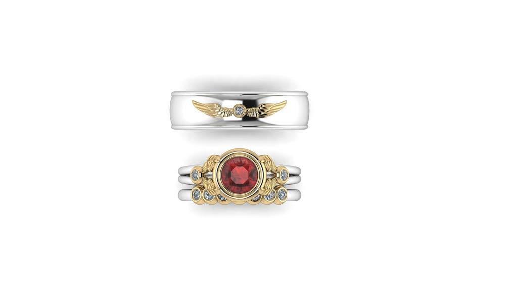 Trio Love - Juego de 3 anillos de compromiso de oro blanco ...
