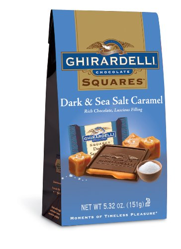 (Ghirardelli Dark and Caramel Sea Salt Chocolate Squares Bag, 5.32-Ounce)