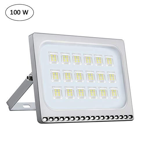 Oshide 100W New Craft Slim LED Flood Lights, 500W Halogen Bulb Equivalent, IP67 Waterproof, 11000Lm,Outdoor Floodlight for Garage, Garden, Lawn and Yard,6000-6500K (Daylight White)