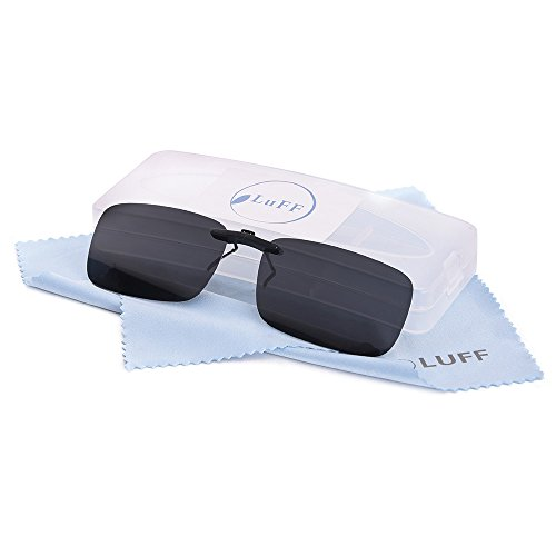 LUFF Polarized Unisex Clip on Sunglasses for Prescription Eyeglasses-Good Clip Style Sunglasses for Myopia Glasses Outdoor/Driving/Fishing (Black) …