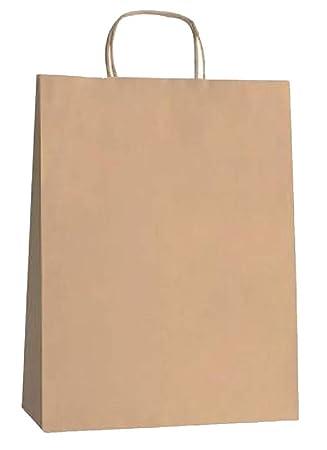 Yearol K07 25 Bolsas de papel kraft marron grandes con asas. 36 * 27 * 12 Para regalos, eventos, bodas, cumpleaños, comercio, compra, venta, ...