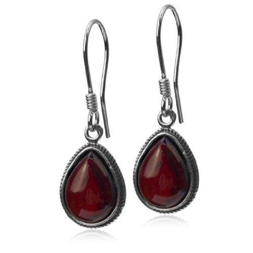 Sterling Silver Red Dark Amber Drop Hook ()