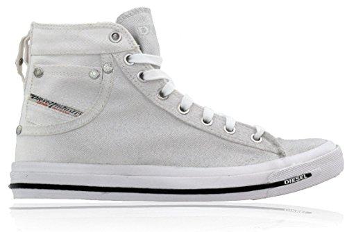 Diesel Scarpe Donna Alte Sneaker Exposure Lacci Bianco/Argento Glitter