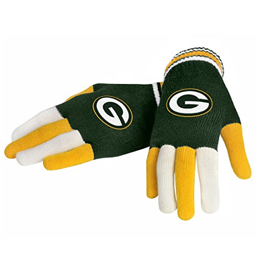 NFL Green Bay Packers Multi Color Team Knit Gloves, Green, One (Green Bay Packers Gear)