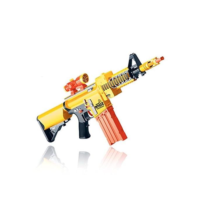 41SLUFnY7cL Pistola de juguete eléctrica semiautomática con balas de espuma. Disparado semiautomático. Incluye 10 balas normales y 10 de succión. Recarga rápida. Para niños a partir de 6 años. Especificaciones: funciona con 5 pilas AA (no incluidas). Tamaño: 72 x 6,5 x 24,5 cm.