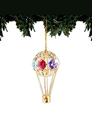 Hot Air Balloon 24k Gold-Plated Ornament with Multicolored Spectra Crystals by Swarovski