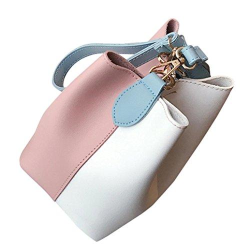 Patchwork main Rose épaule Large Mode Sac Cuir Féminine ESAILQ à à Sac Bandoulière en Seau Za08wF