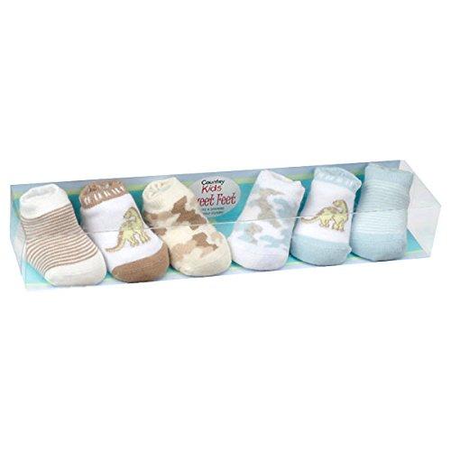 Country Kids Baby Boys' Dinosaur Camo Stripe Stocking Stuffer Socks, Seamless Toe, 6 Pair Gift Set, Fits Newborn up to 3 months