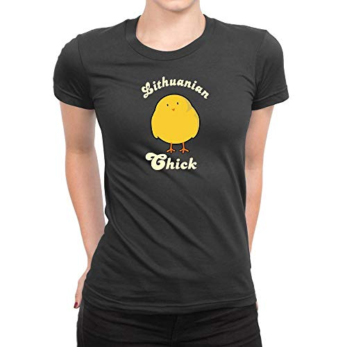 Lithuanian Chick - Idakoos Lithuanian Chick Women T-Shirt L Dark Silver