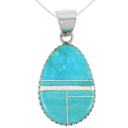 Turquoise Pendant Necklace in Sterling Silver Select from Teardrop