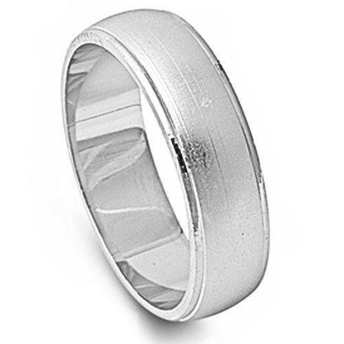 Men's Brushed Finish Wedding Band Fashion .925 Sterling Silver Ring Size (Sterling Silver Brushed Finish)
