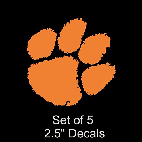 (Set of 5 Clemson University Car Decal | 2.5 IN Bumper Laptop Window Helmets Motorcycles Truck | Clemson Tigers Stickers Vinyl)