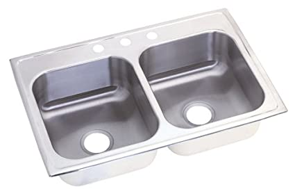 Elkay NLX33224 Neptune Double Bowl Kitchen Sink, Stainless Steel, 33 ...