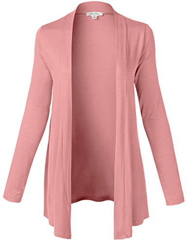 Basic Casual Solid Color Drapery Open Front Long Sleeve Knit Cardigans