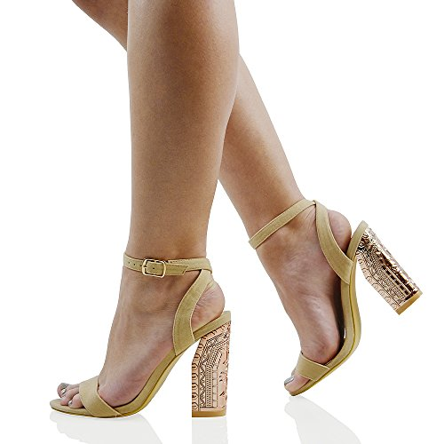 ESSEX GLAM Womens Ankle Strap Chunky Heel Sandals Ladies Peeptoe Chrome Party Shoes Size NUDE FAUX SUEDE TEWTq
