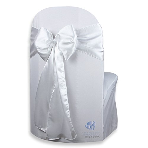 (Sparkles Make It Special 100 pcs Satin Chair Cover Bow Sash - White - Wedding Party Banquet Reception - 28 Colors Available)