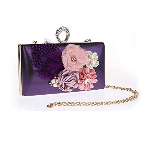 Evening Wedding Bags Ladies Party Purse Bag Women Bag Bridal Flowers Clutch Bag Purple Prom Handbag 05nqI