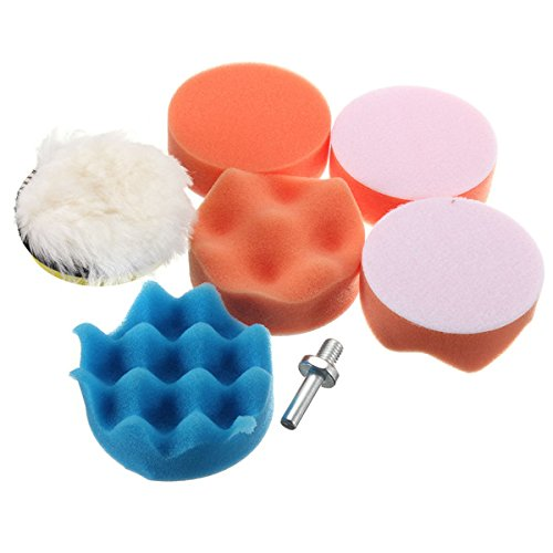 Letbo New 7pcs 3 Inch Buffing Pad Polishing Waxing Wheel with M10 Drill Adapter