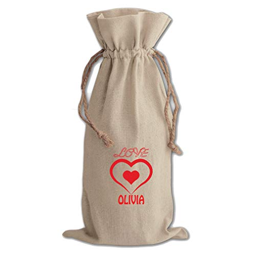 - Personalized Inspiration Two Hearts Cotton Canvas Wine Bag Cotton Drawstring