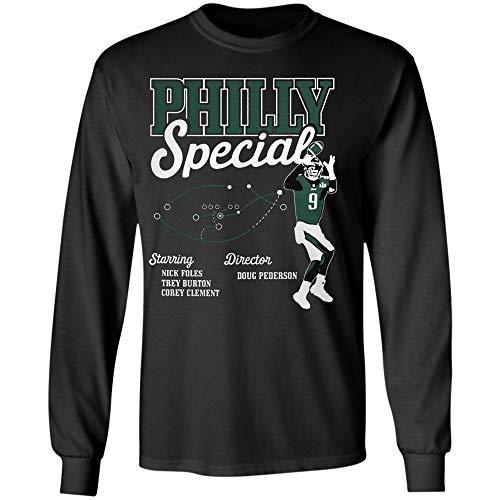 Philly Special Eagles Philadelphia Football Funny Starring Nick Foles Trey Burton Corey Clement Dire T Shirt Sweetshirt Hoodie (Long Sleeve T-Shirt;Black;L)