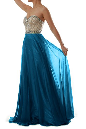 MACloth Women Strapless Chiffon Long Prom Dress Wedding Party Formal Gown Teal
