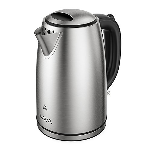 VAVA Electric 1.7L Black Stainless Steel Tea Kettles with British Strix Control Water Boiler with Auto Shut-Off, Boil Dry Protection, LED, Light Indicator (BPA-Free/FDA Certified/UL Approved)