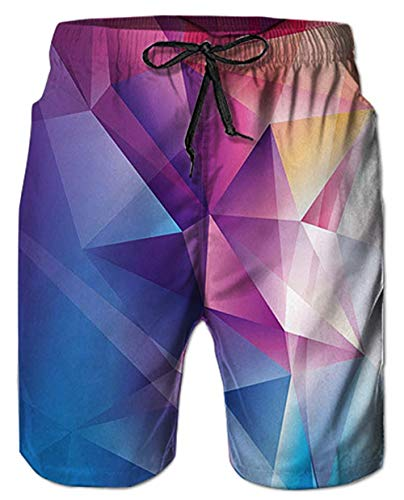 Mens Beach Shorts 3D Digital Print Diamond Tie-Dye Fun Pattern Rose Red Blue Athletic Mesh Liner Sports Swimwear High Waisted Spandex Compression Boardshorts Swim Trunks for Big Teen Boy Casual Home Blue Diamond Pool Liner